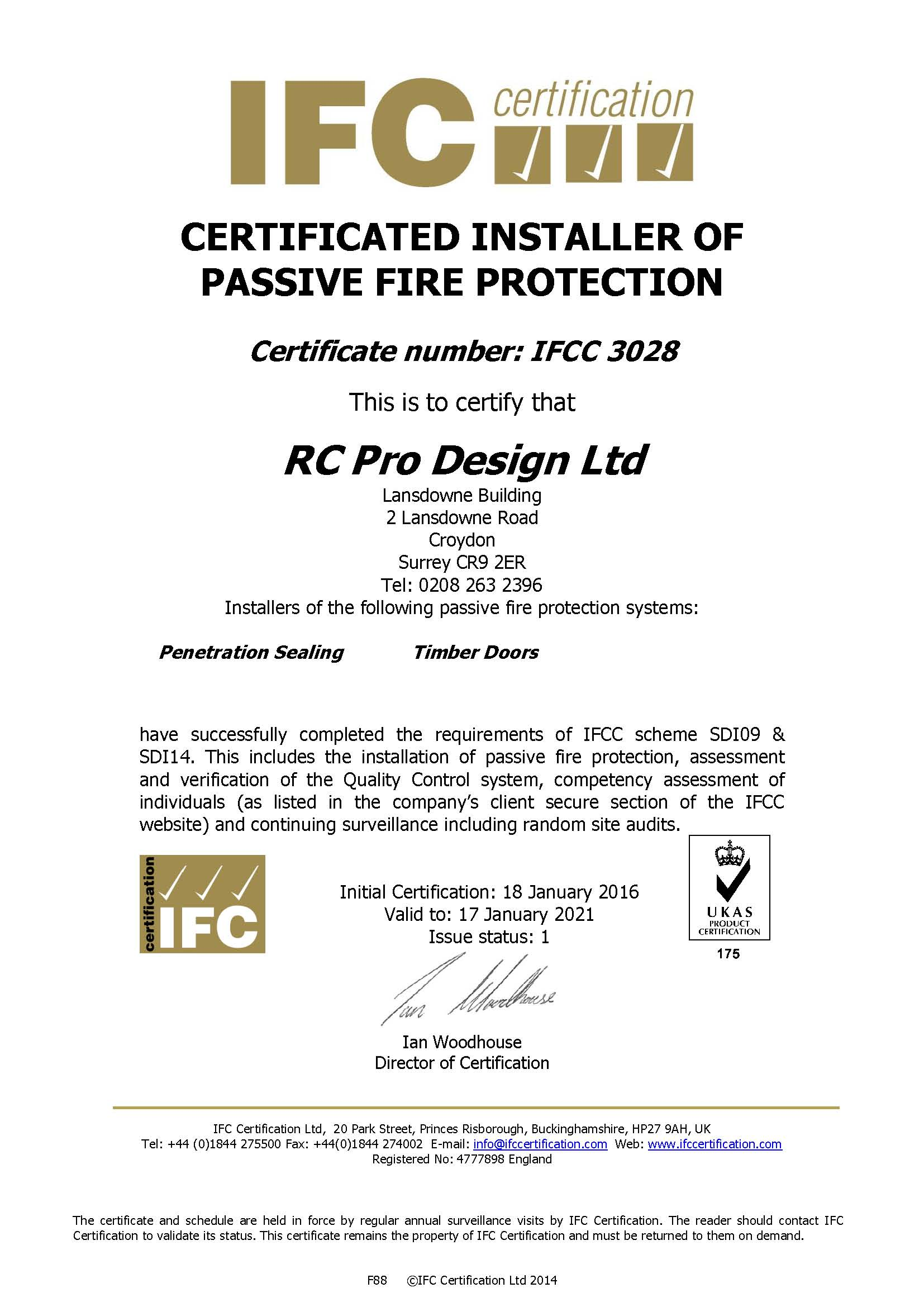 Certificated installer of passive fire protection fire protection certification for rc pro design ltd 1betcityfo Gallery
